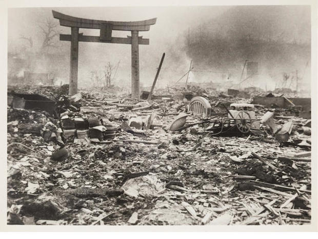 the devastation of the atomic bombing of japan by the us in 1945 The remains in the suburbs, one of the devastated areas 5 miles from where the us dropped atomic bomb.